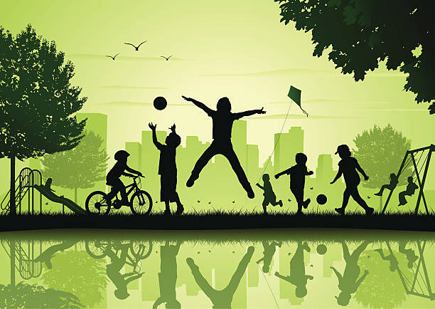 Children playing in the city park vector art illustration