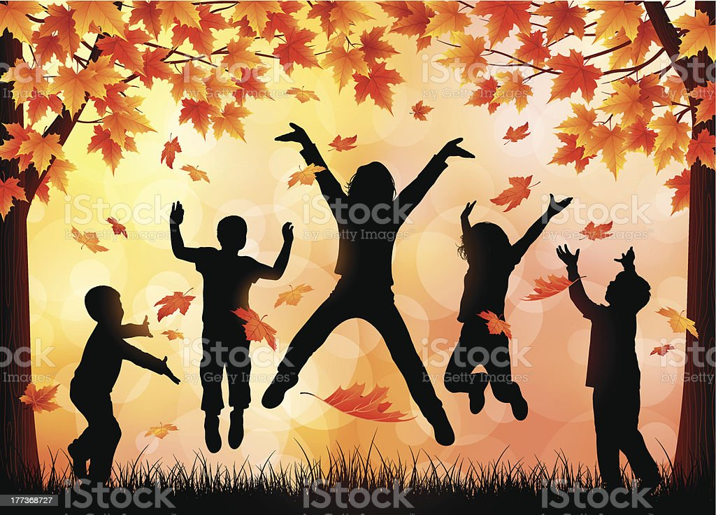 Children Playing in the Leaves vector art illustration