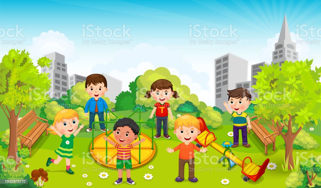 Children playing in the middle of the park against the backdrop of the city. Vector illustration vector art illustration