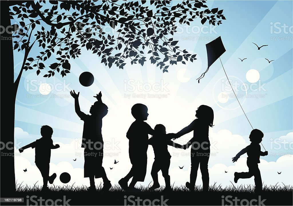 Children playing in the park royalty-free children playing in the park stock vector art & more images of back lit