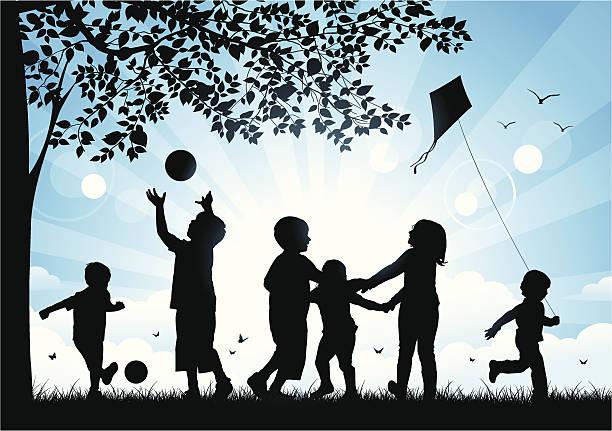 ilustrações, clipart, desenhos animados e ícones de crianças brincando no parque - brincadeira
