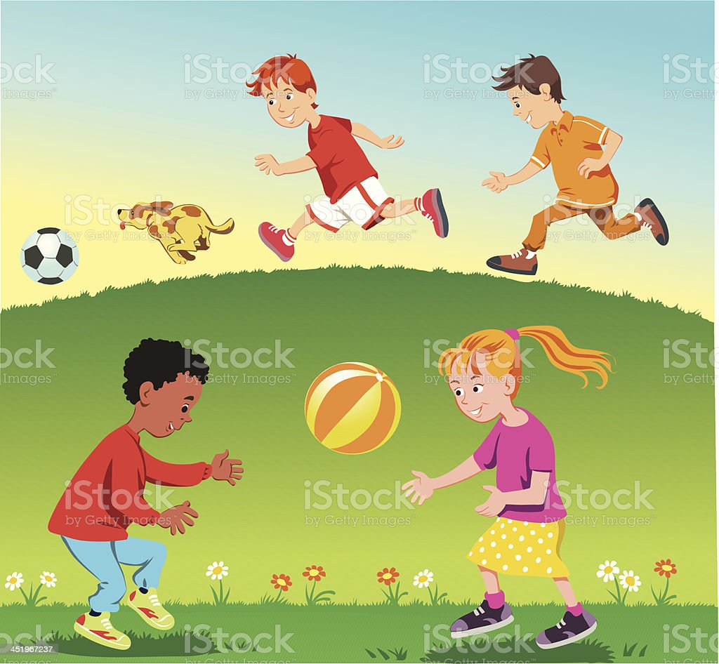 Children Playing in the Park vector art illustration