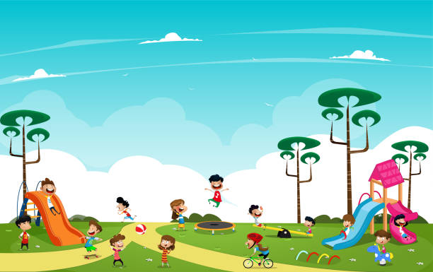 Children playing in the playground outside vector art illustration