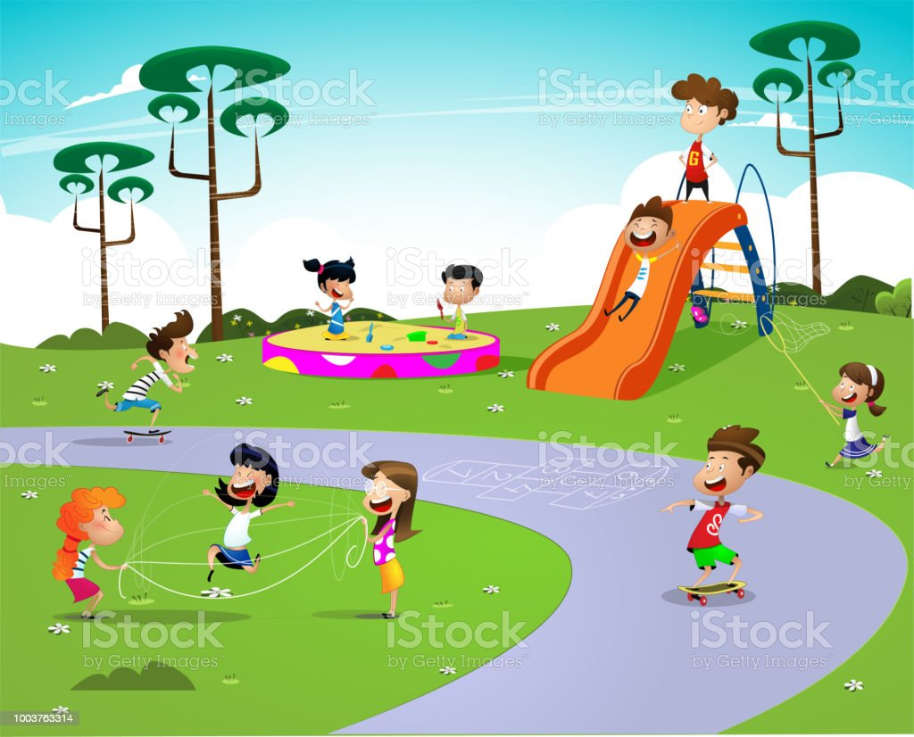Children playing in the playground vector art illustration