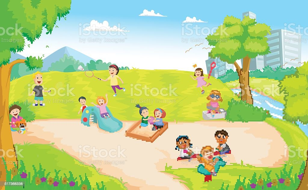 Niños Jugando En El Patio De Juegos - Arte vectorial de stock y ...