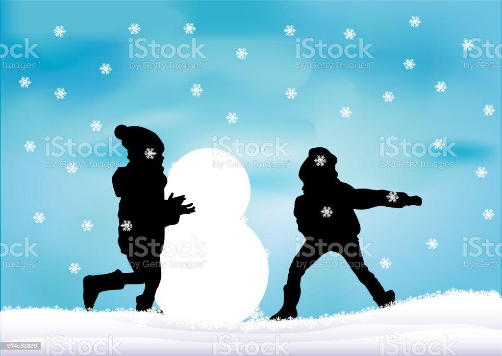 Ilustracion De Ninos Jugando En La Nieve Y Mas Banco De Imagenes De