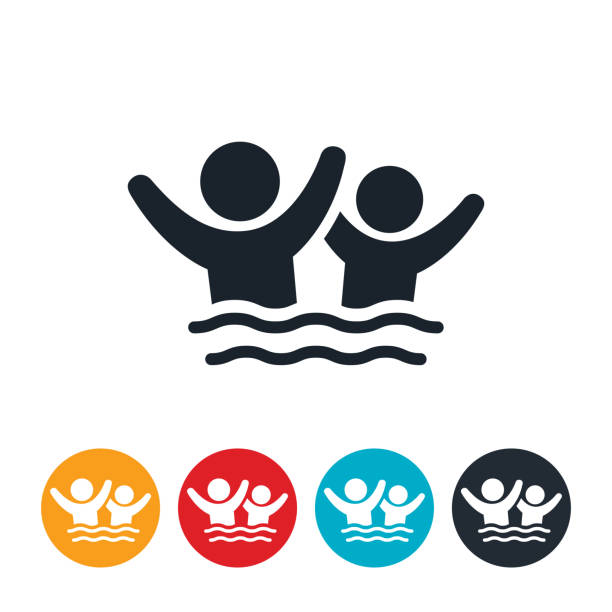 illustrations, cliparts, dessins animés et icônes de enfants jouant dans l'eau icône - natation