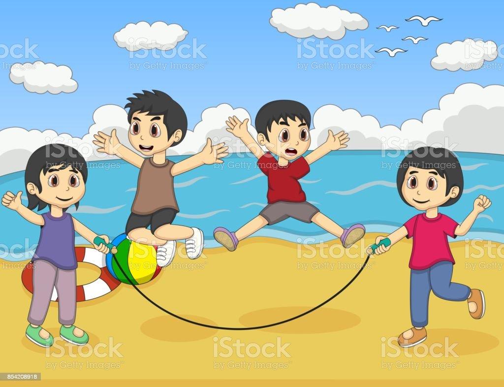 Lekande Barn Hoppa Rep I Den Strand Tecknat Vektorgrafik Och Fler