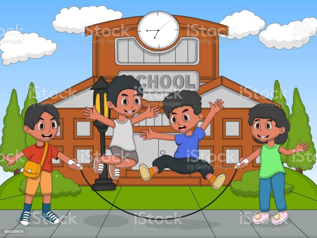 crianas brincando de pular corda no desenho animado parque escola ilustrao de crianas brincando de pular