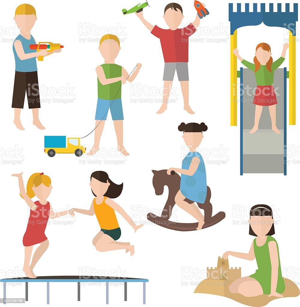 Children playing. Kindergarten .Flat characters set isolated vector illustration vector art illustration
