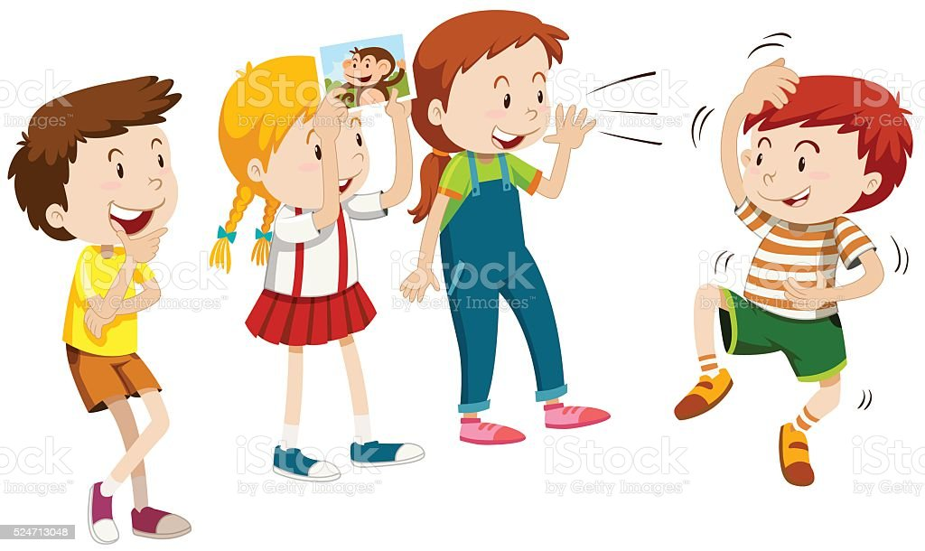 Children playing monkey with friends vector art illustration
