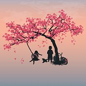 Children playing on a tire swing. Boy, girl and dog under the tree. Springtime. Cherry blossoms. Vector, EPS 10