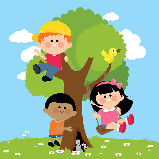 Best Kids Climbing Tree Illustrations, Royalty-Free Vector ...