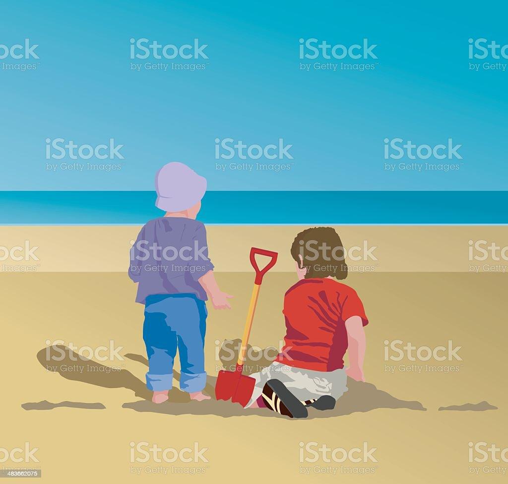 Children playing on beach - Vector illustration royalty-free stock vector art