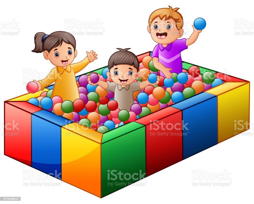 Ilustraci n de ni os jugando en la piscina de bolas for En pelotas en la piscina