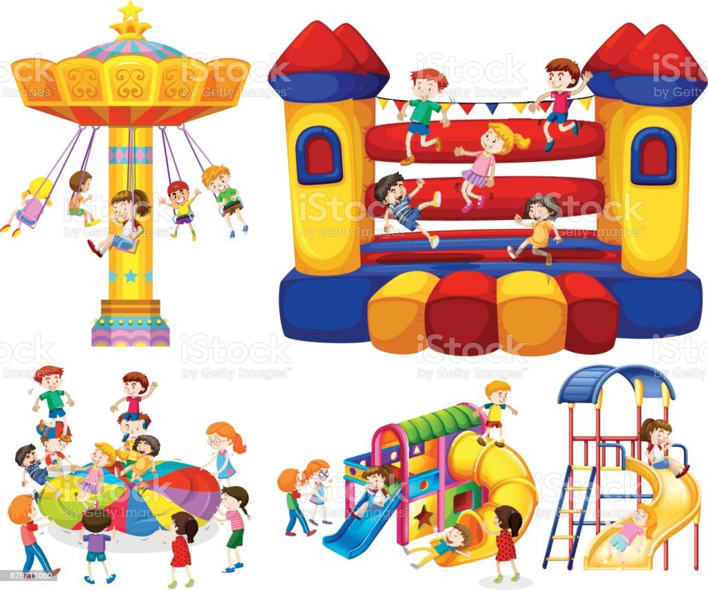 Children playing on different rides vector art illustration