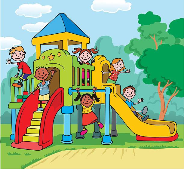 kinder spielen am spielplatz - freilauf stock-grafiken, -clipart, -cartoons und -symbole