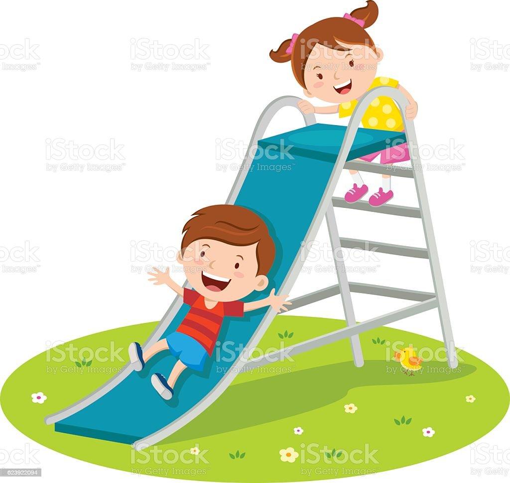 Children playing on slide vector art illustration