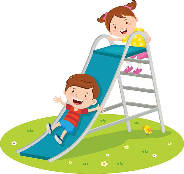 Children playing on slide - Illustration vectorielle