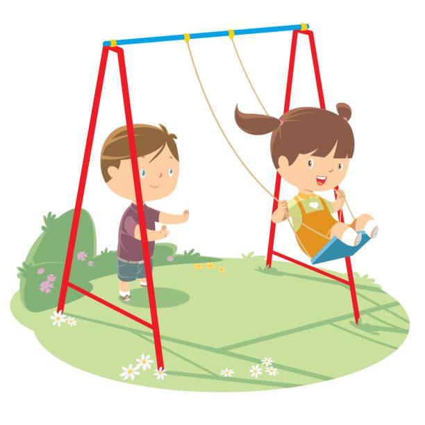 ilustrações de stock, clip art, desenhos animados e ícones de children playing on swing - balouço