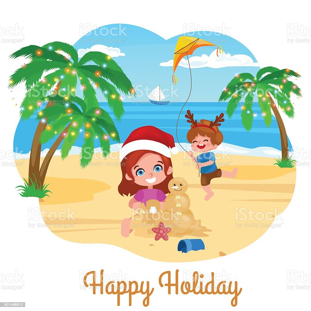 children playing on the beach. Christmas vacation on the beach. a boy...