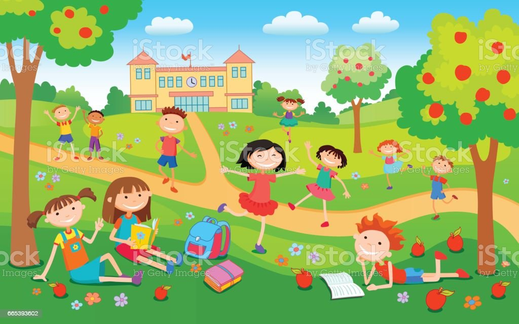 Children Playing On The Grass In The Park Before School ...