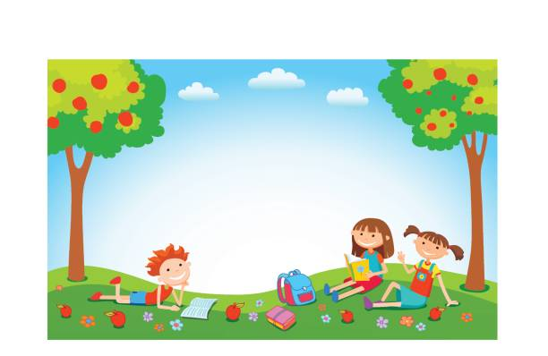 Children playing on the grass in the park before school vector art illustration