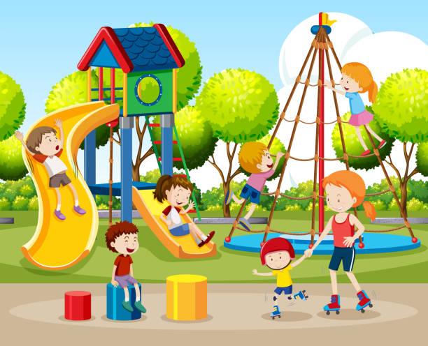 Happy children play in playground - Download Free Vectors, Clipart Graphics  & Vector Art