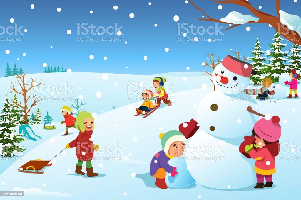 Enfants jouant extérieur pendant l hiver Illustration enfants jouant  extérieur pendant lhiver illustration – cliparts 2bf9eada256