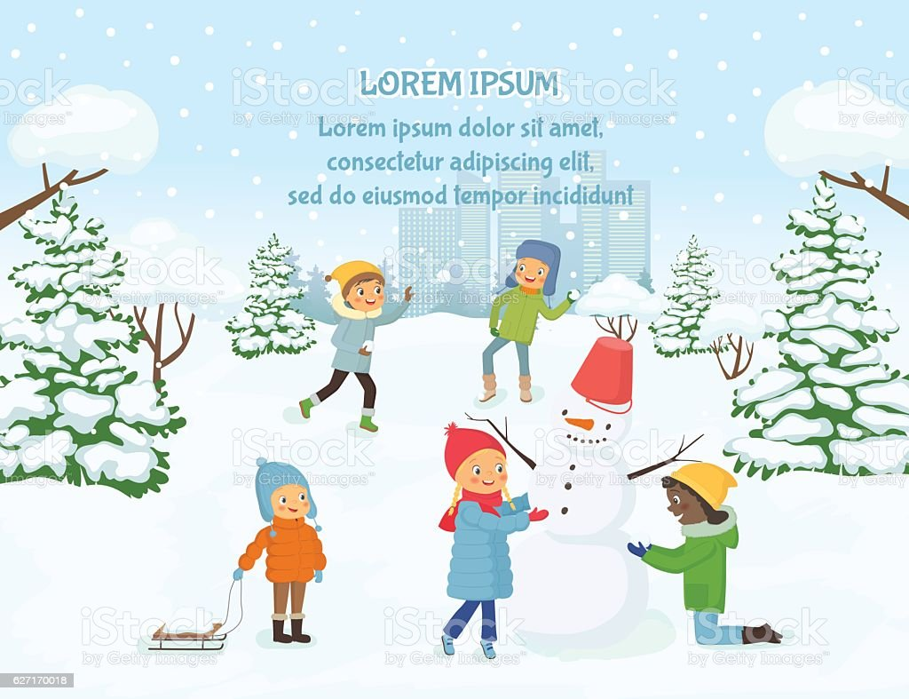 Children playing outside on the background of snowy city vector art illustration