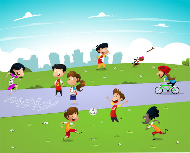 Children playing outside vector art illustration