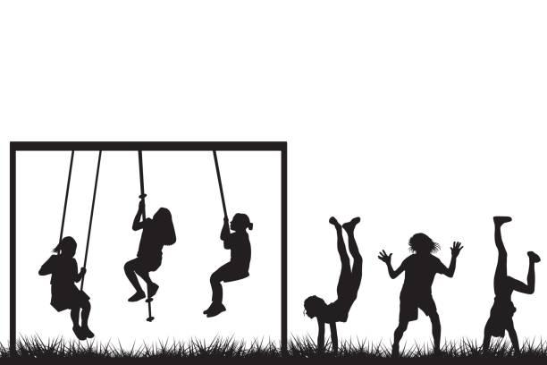 ilustrações de stock, clip art, desenhos animados e ícones de children playing outside - balouço