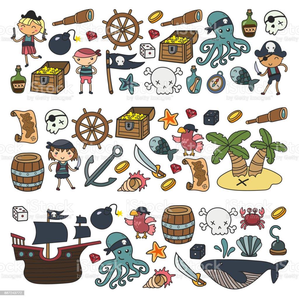 Children Playing Pirates Boys And Girls Kindergarten School ...