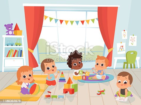 Children playing room. Little new born or 1 years baby with toys indoors vector kids characters. Kindergarten room with kids play with toys illustration