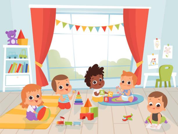 ilustrações, clipart, desenhos animados e ícones de crianças brincando de quarto. pouco recém-nascido ou 1 ano de bebê com brinquedos dentro de vetores personagens crianças vetor - brincadeira