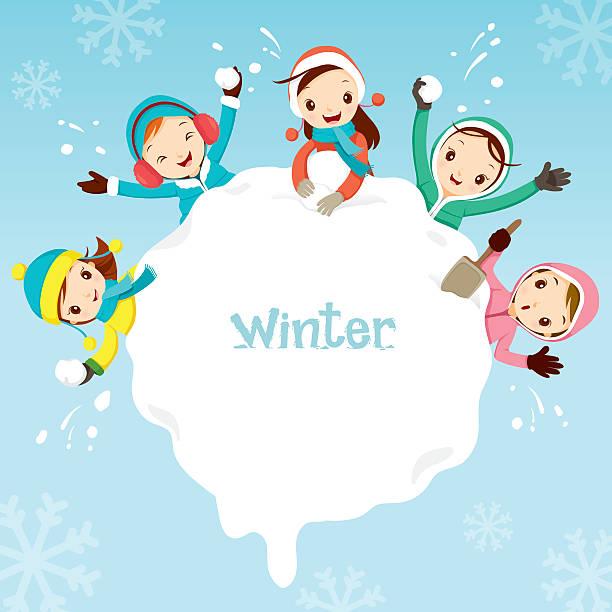 Winter Kids Playing Border