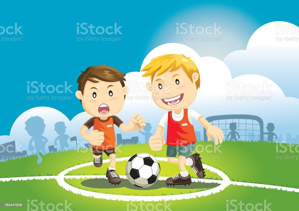 Kinder spielen Fußball im Freien – Vektorgrafik