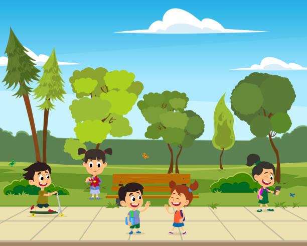 Children playing sports in the park illustration vector art illustration