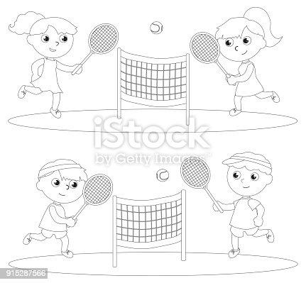Ilustración de Niños Jugando Tenis Para Colorear Vector y más banco ...