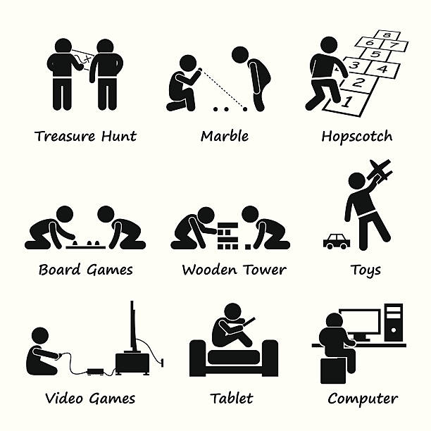 stockillustraties, clipart, cartoons en iconen met children playing traditional and modern games clipart - board game outside