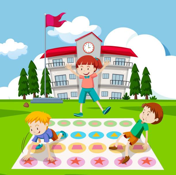 Children Playing Twister Game Vector Art Illustration