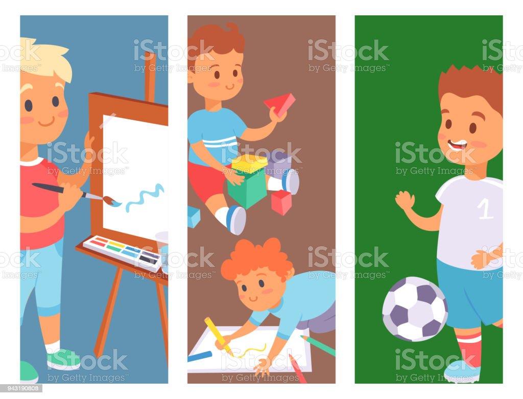 Ilustracion De Ninos Jugando Vector Banner Diferentes Tipos De