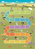 Board game with happy cartoon children playing over path on the green park