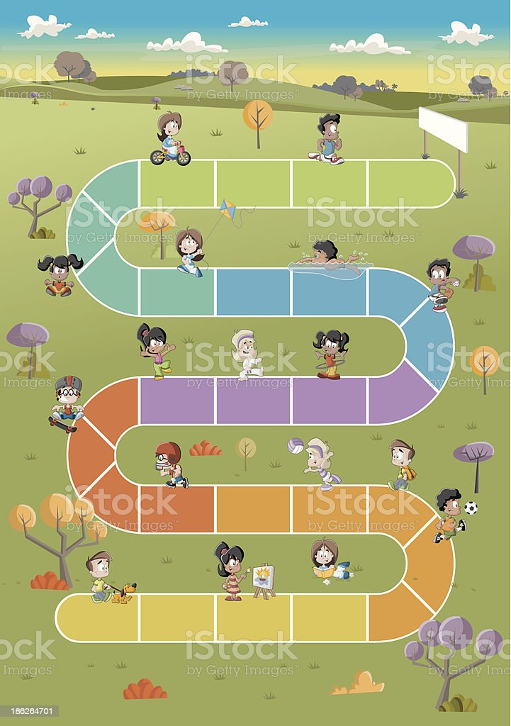 children playing vector art illustration