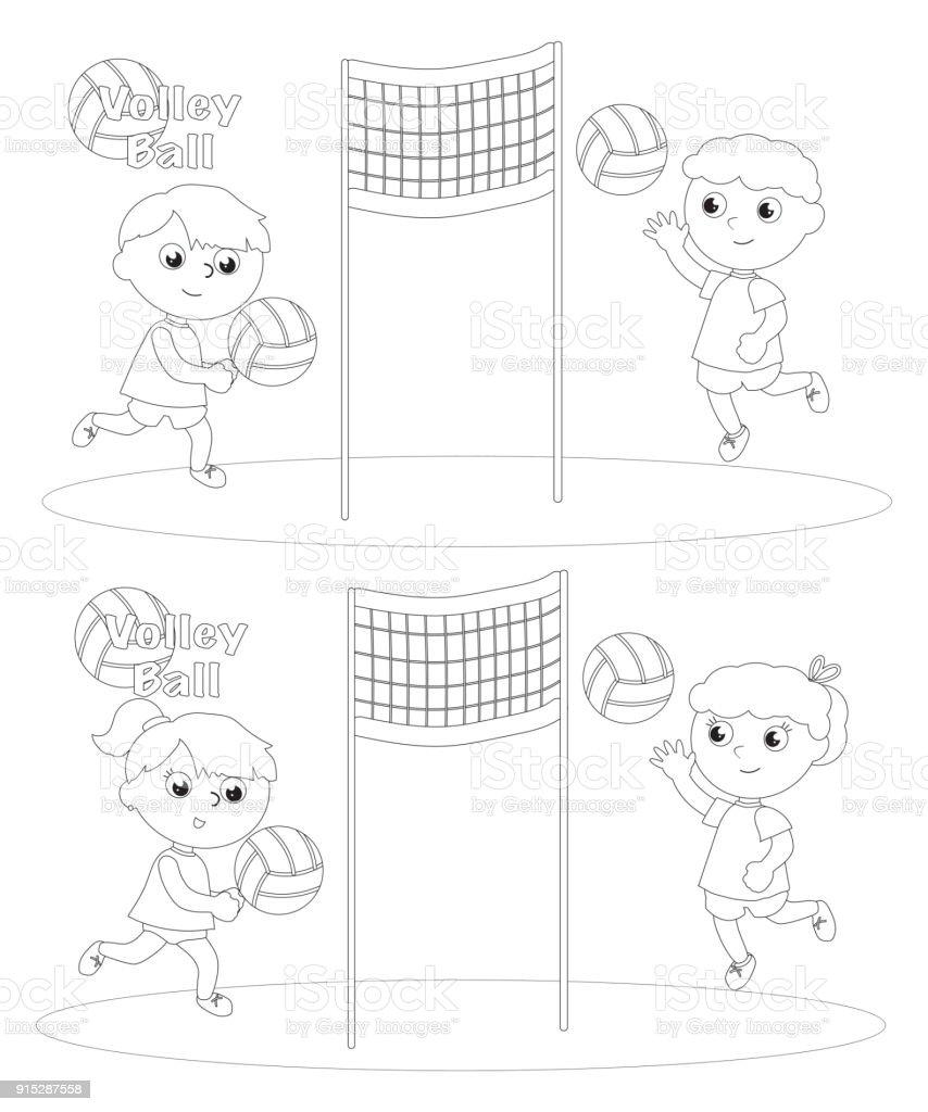 Ilustración de Niños Jugando A La Pelota De Voleibol Para Colorear ...
