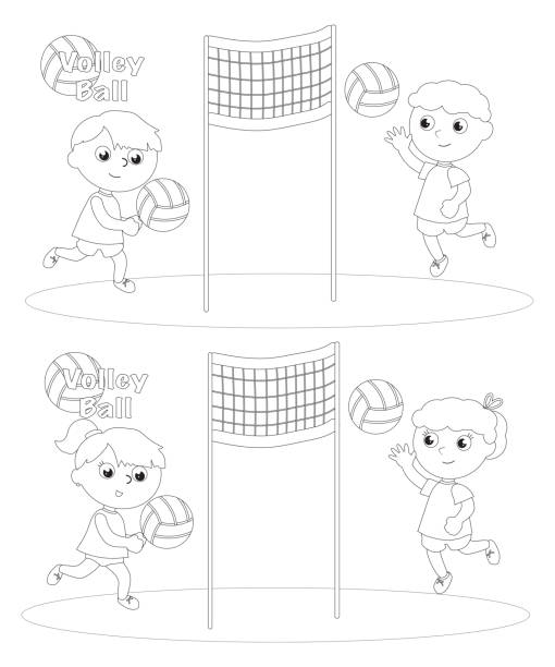 Children playing volley ball coloring vector vector art illustration