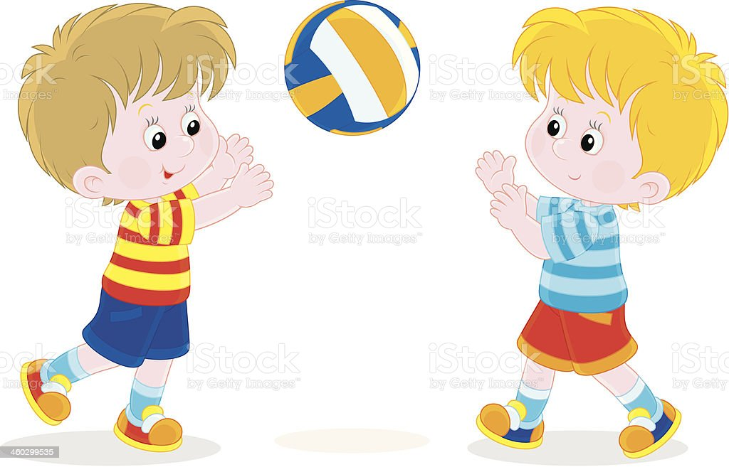Children Reading Stock Vector Art More Images Of Baby: Children Playing Volleyball Stock Vector Art & More Images