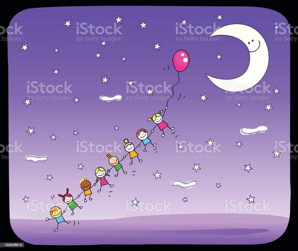 Ilustración de Niños Jugando Con Globo Bajo La Luz De La Luna ...