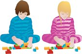 Fully editable and scalable vector illustration on a white background showing a boy and a girl playing with coloured plastic bricks. AI and EPS files included.