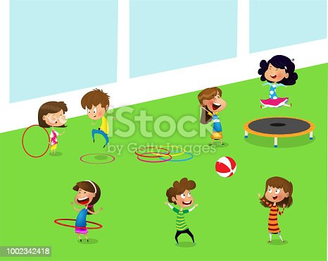 Children playing with hula hoop and trampoline in playroom of kindergarten vector illustration. Cartoon illustration